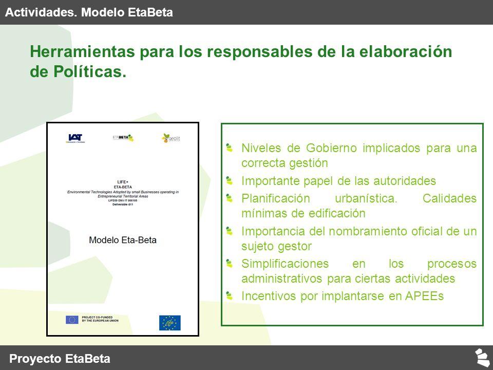 Actividades. Modelo EtaBeta Herramientas para los responsables de la elaboración de Políticas.