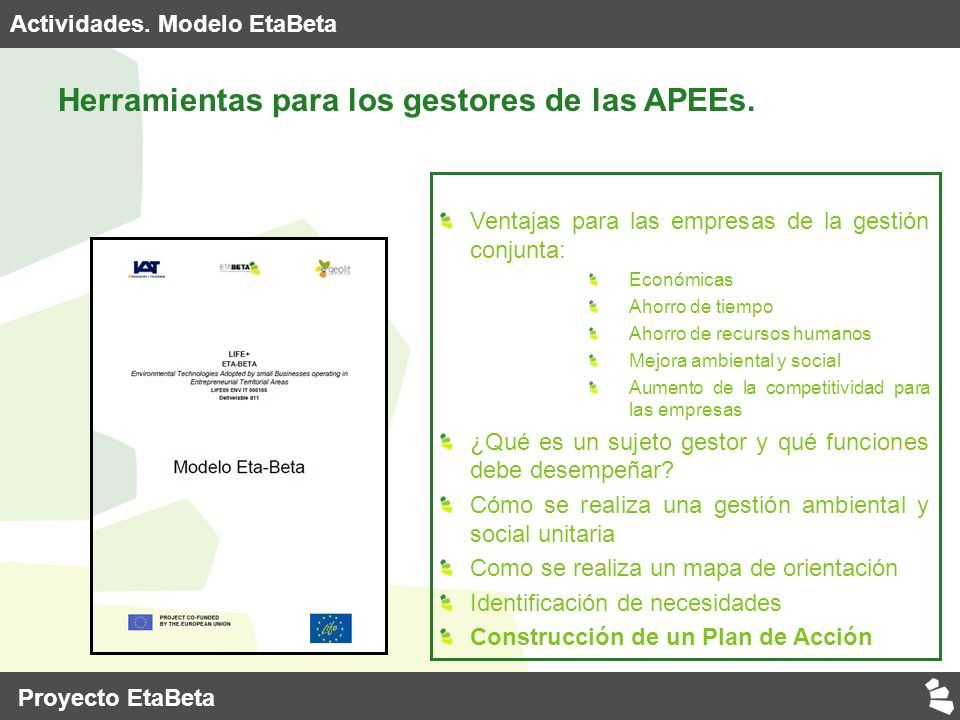 Actividades. Modelo EtaBeta Herramientas para los gestores de las APEEs.