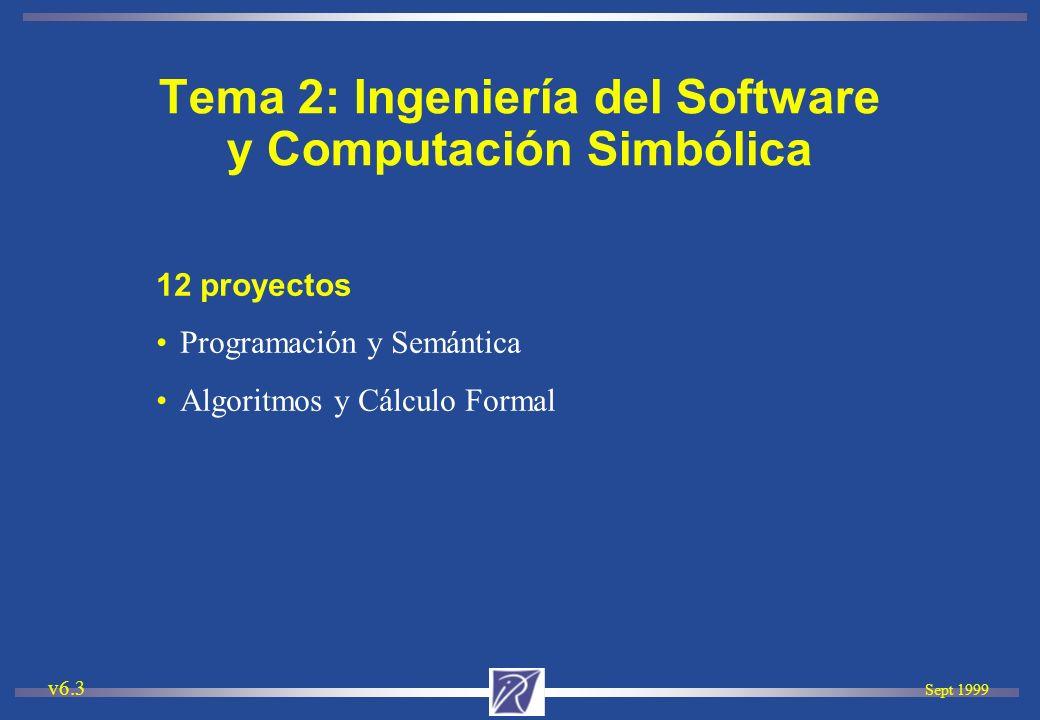 Sept 1999 v6.3 12 proyectos Programación y Semántica Algoritmos y Cálculo Formal Tema 2: Ingeniería del Software y Computación Simbólica