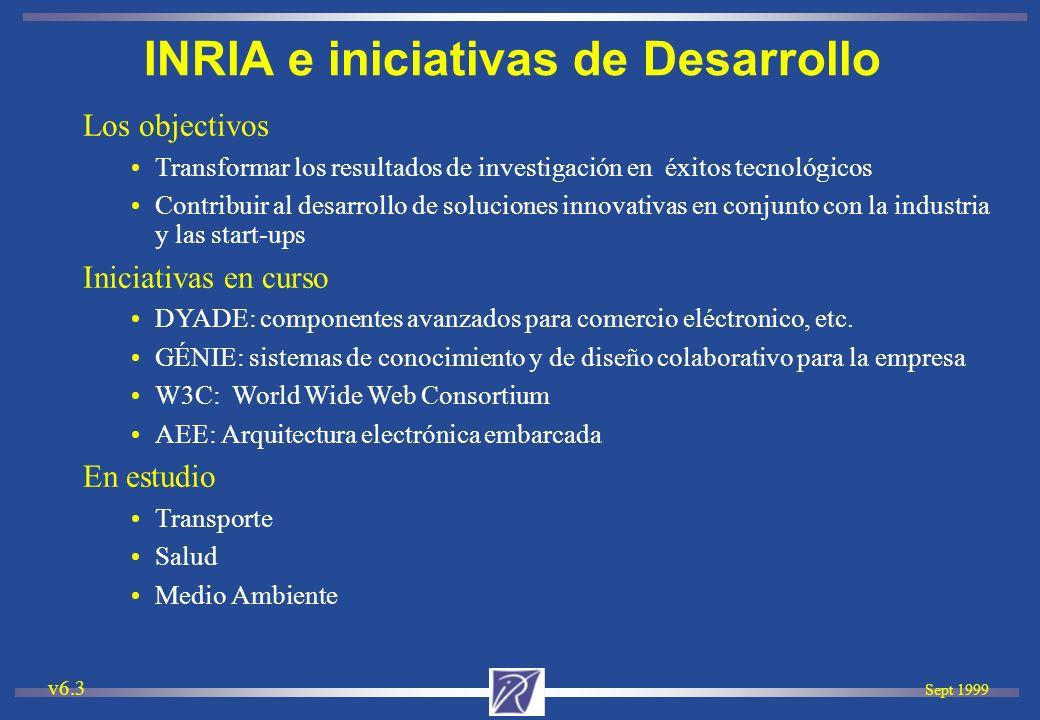 Sept 1999 v6.3 Los objectivos Transformar los resultados de investigación en éxitos tecnológicos Contribuir al desarrollo de soluciones innovativas en