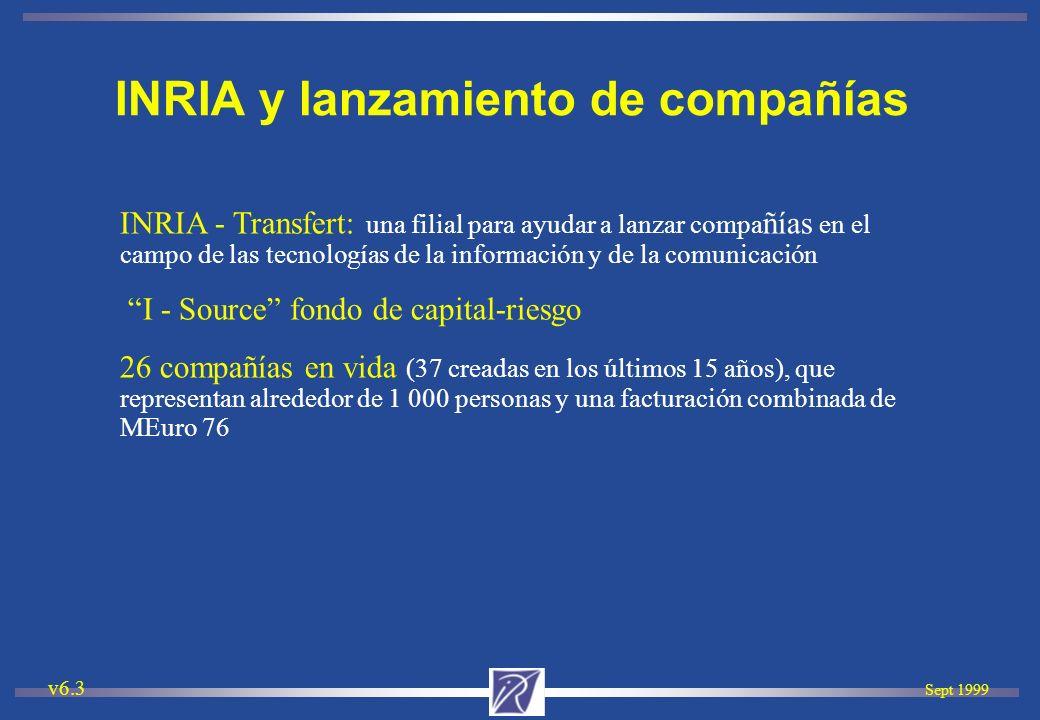Sept 1999 v6.3 INRIA - Transfert: una filial para ayudar a lanzar compa ñías en el campo de las tecnologías de la información y de la comunicación I -