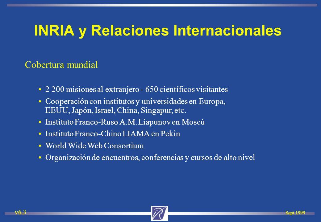 Sept 1999 v6.3 Cobertura mundial 2 200 misiones al extranjero - 650 científicos visitantes Cooperación con institutos y universidades en Europa, EEUU,