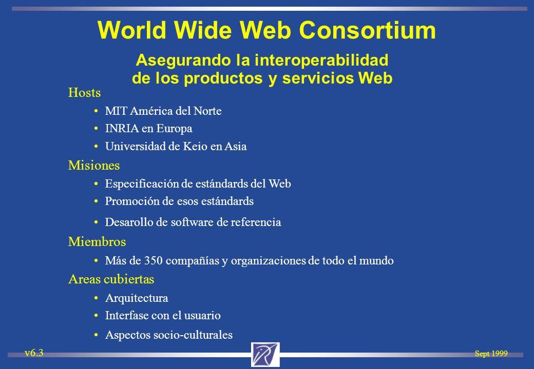 Sept 1999 v6.3 Asegurando la interoperabilidad de los productos y servicios Web Hosts MIT América del Norte INRIA en Europa Universidad de Keio en Asi