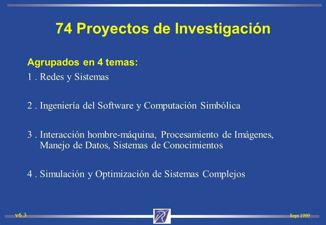 Sept 1999 v6.3 Paralelismo y Arquitectura Redes, Sistemas, Evaluación de performances Programación Distribuída y en tiempo real 22 proyectos Tema 1: Redes y Sistemas