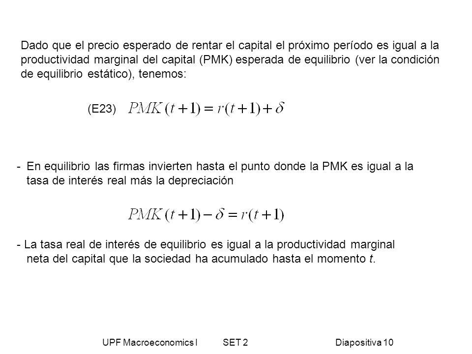 UPF Macroeconomics I SET 2Diapositiva 10 Dado que el precio esperado de rentar el capital el próximo período es igual a la productividad marginal del
