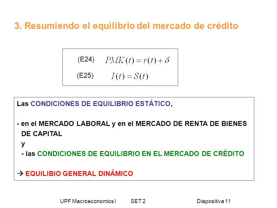 UPF Macroeconomics I SET 2Diapositiva 11 3. Resumiendo el equilibrio del mercado de crédito (E25) (E24) Las CONDICIONES DE EQUILIBRIO ESTÁTICO, - en e