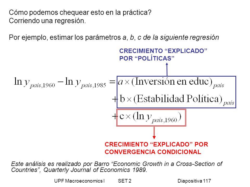 UPF Macroeconomics I SET 2Diapositiva 117 Cómo podemos chequear esto en la práctica? Corriendo una regresión. Por ejemplo, estimar los parámetros a, b