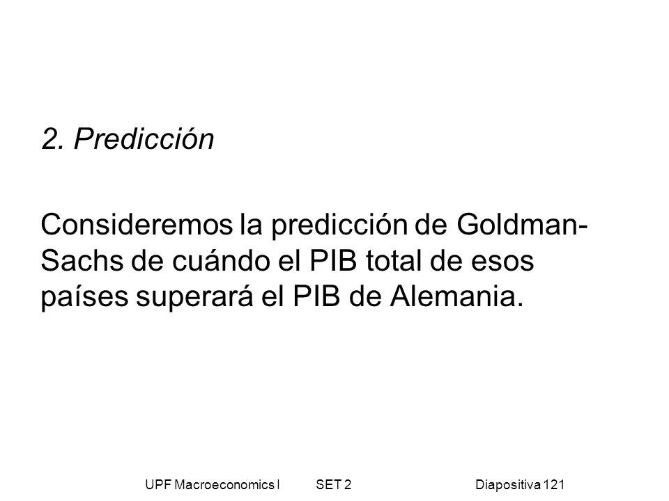 UPF Macroeconomics I SET 2Diapositiva 121 2. Predicción Consideremos la predicción de Goldman- Sachs de cuándo el PIB total de esos países superará el