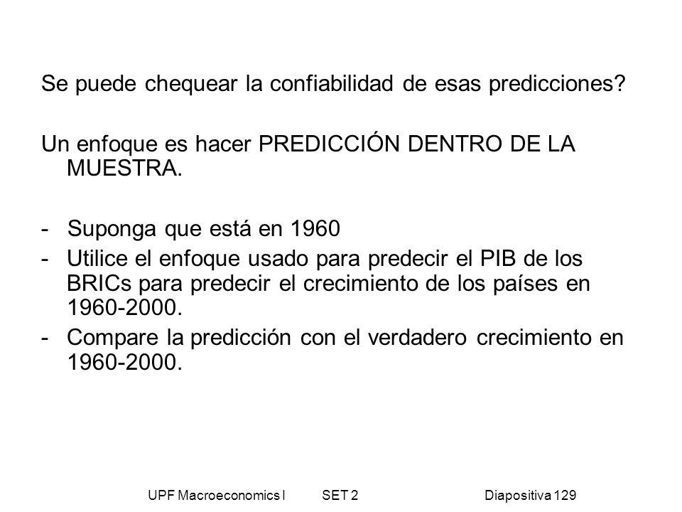UPF Macroeconomics I SET 2Diapositiva 129 Se puede chequear la confiabilidad de esas predicciones? Un enfoque es hacer PREDICCIÓN DENTRO DE LA MUESTRA