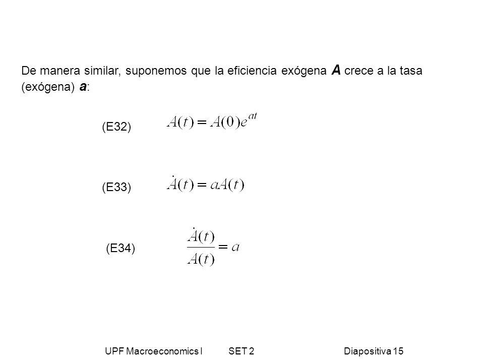 UPF Macroeconomics I SET 2Diapositiva 15 De manera similar, suponemos que la eficiencia exógena A crece a la tasa (exógena) a : (E33) (E34) (E32)