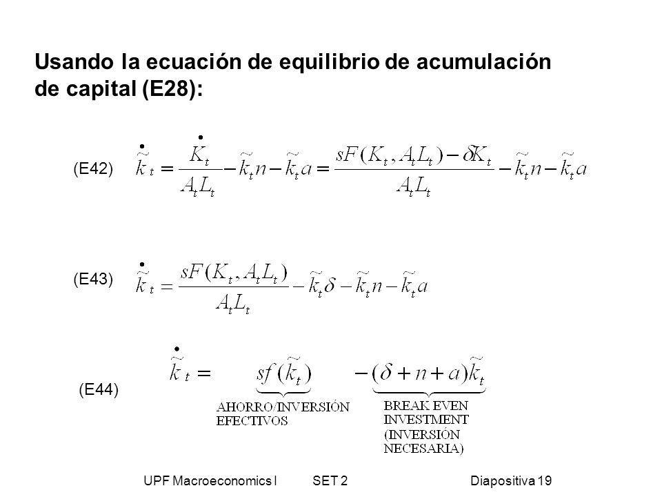 UPF Macroeconomics I SET 2Diapositiva 19 (E42) (E43) (E44) Usando la ecuación de equilibrio de acumulación de capital (E28):