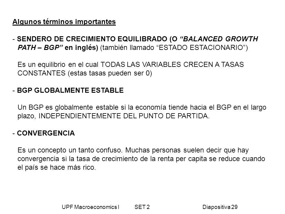 UPF Macroeconomics I SET 2Diapositiva 29 Algunos términos importantes - SENDERO DE CRECIMIENTO EQUILIBRADO (O BALANCED GROWTH PATH – BGP en inglés) (t