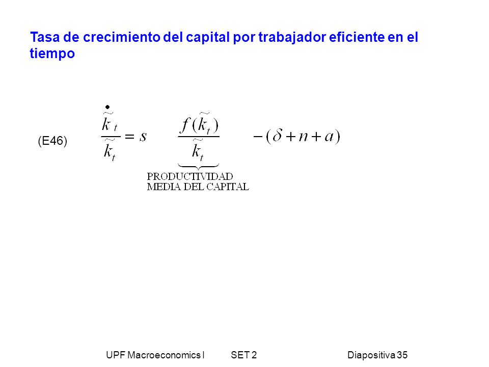 UPF Macroeconomics I SET 2Diapositiva 35 Tasa de crecimiento del capital por trabajador eficiente en el tiempo (E46)