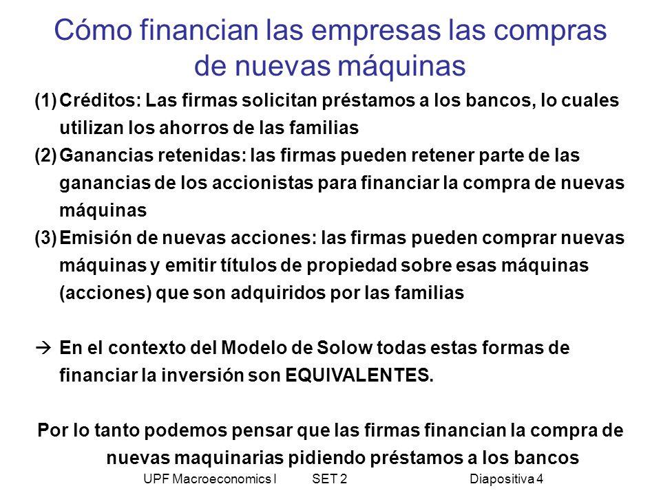 UPF Macroeconomics I SET 2Diapositiva 4 Cómo financian las empresas las compras de nuevas máquinas (1)Créditos: Las firmas solicitan préstamos a los b