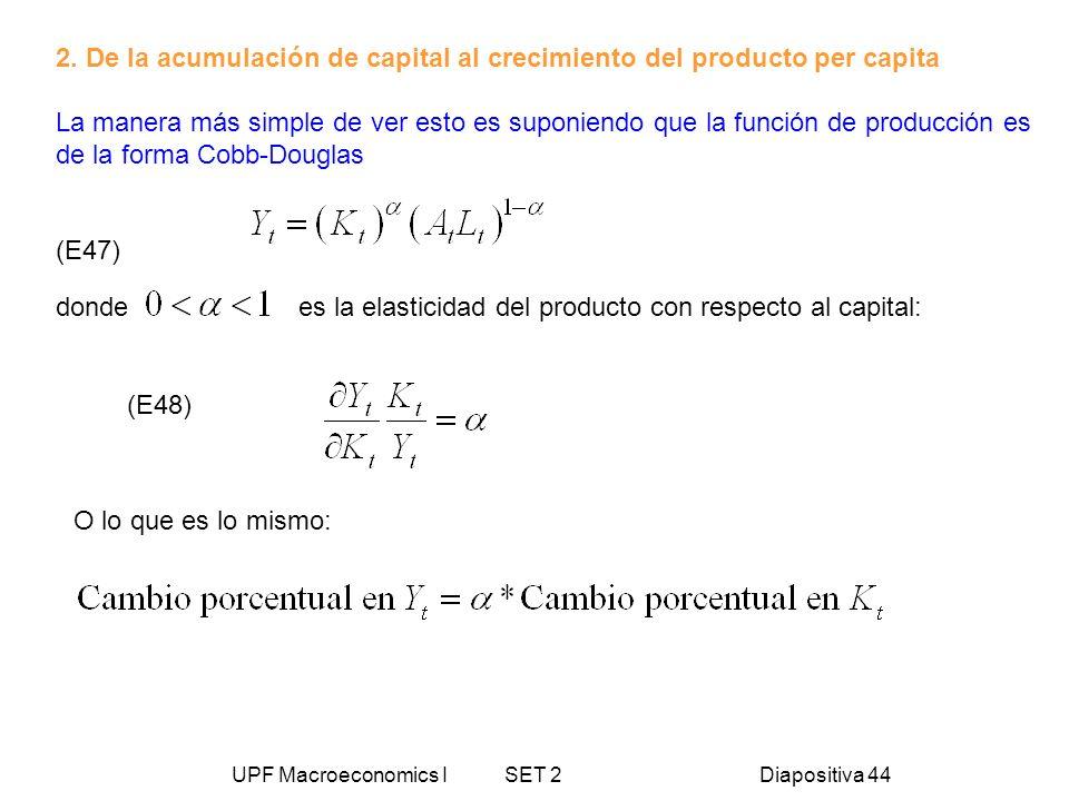 UPF Macroeconomics I SET 2Diapositiva 44 2. De la acumulación de capital al crecimiento del producto per capita La manera más simple de ver esto es su