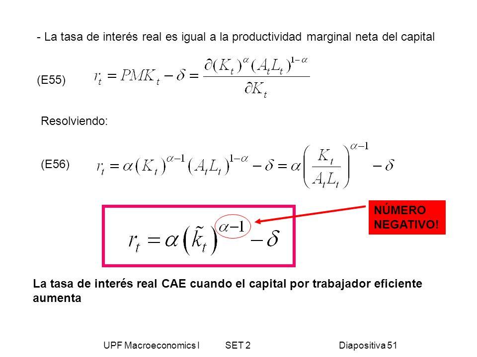 UPF Macroeconomics I SET 2Diapositiva 51 - La tasa de interés real es igual a la productividad marginal neta del capital (E55) Resolviendo: (E56) La t