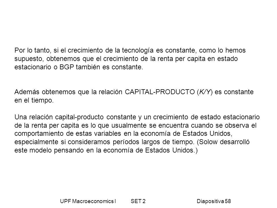 UPF Macroeconomics I SET 2Diapositiva 58 Por lo tanto, si el crecimiento de la tecnología es constante, como lo hemos supuesto, obtenemos que el creci