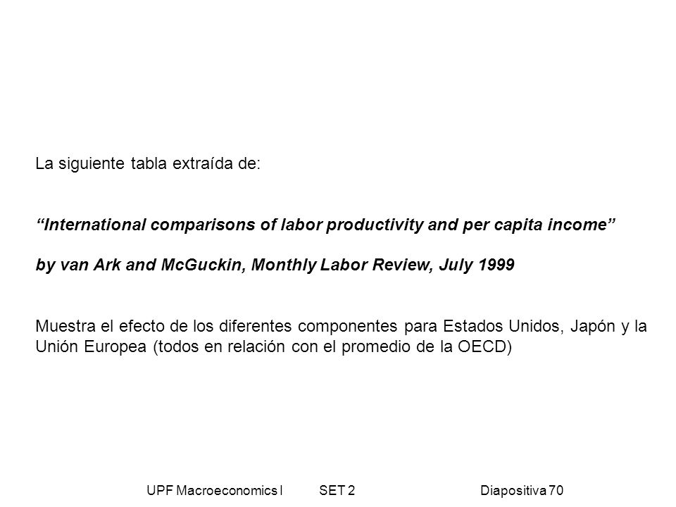 UPF Macroeconomics I SET 2Diapositiva 70 La siguiente tabla extraída de: International comparisons of labor productivity and per capita income by van