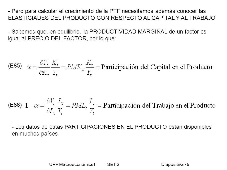 UPF Macroeconomics I SET 2Diapositiva 75 - Pero para calcular el crecimiento de la PTF necesitamos además conocer las ELASTICIADES DEL PRODUCTO CON RE