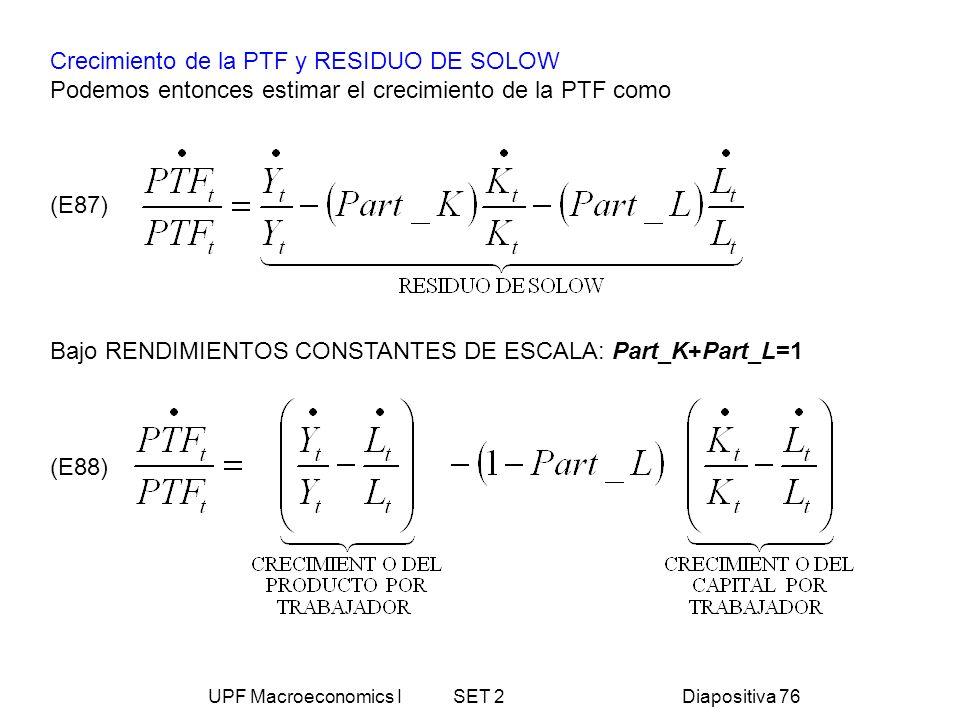 UPF Macroeconomics I SET 2Diapositiva 76 Crecimiento de la PTF y RESIDUO DE SOLOW Podemos entonces estimar el crecimiento de la PTF como (E87) Bajo RE