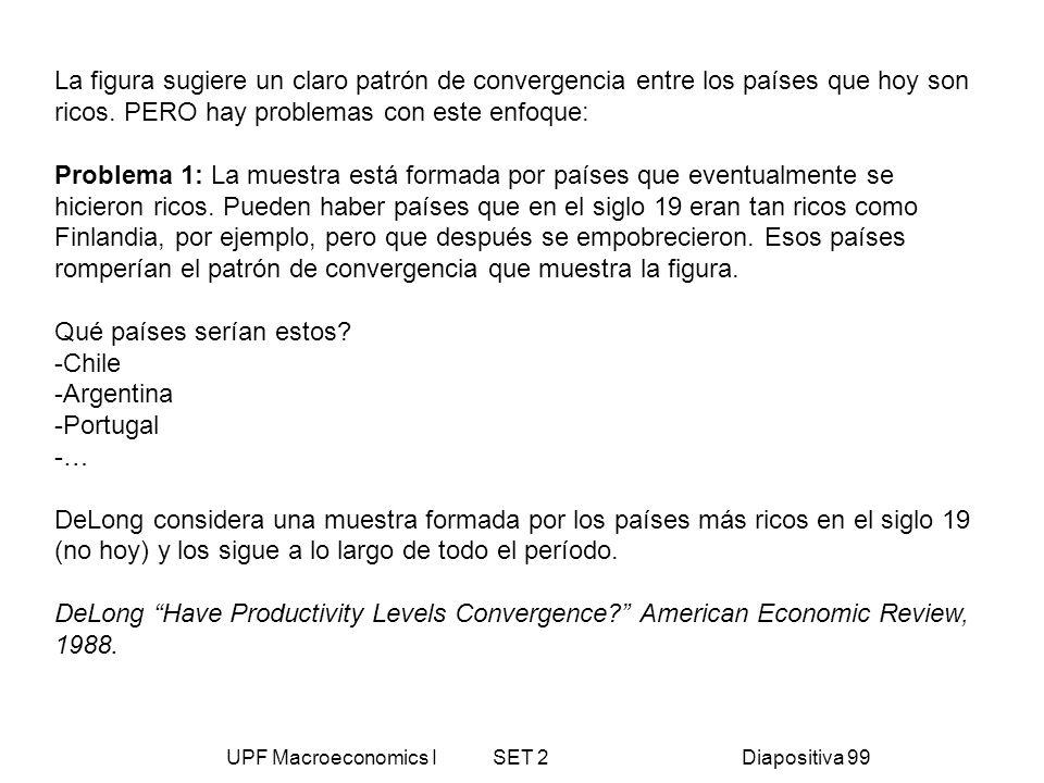 UPF Macroeconomics I SET 2Diapositiva 99 La figura sugiere un claro patrón de convergencia entre los países que hoy son ricos. PERO hay problemas con