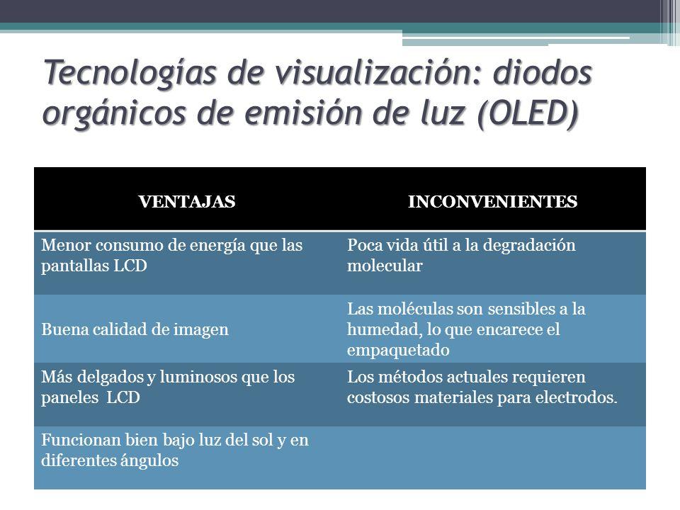 Tecnologías de visualización: diodos orgánicos de emisión de luz (OLED) VENTAJASINCONVENIENTES Menor consumo de energía que las pantallas LCD Poca vid