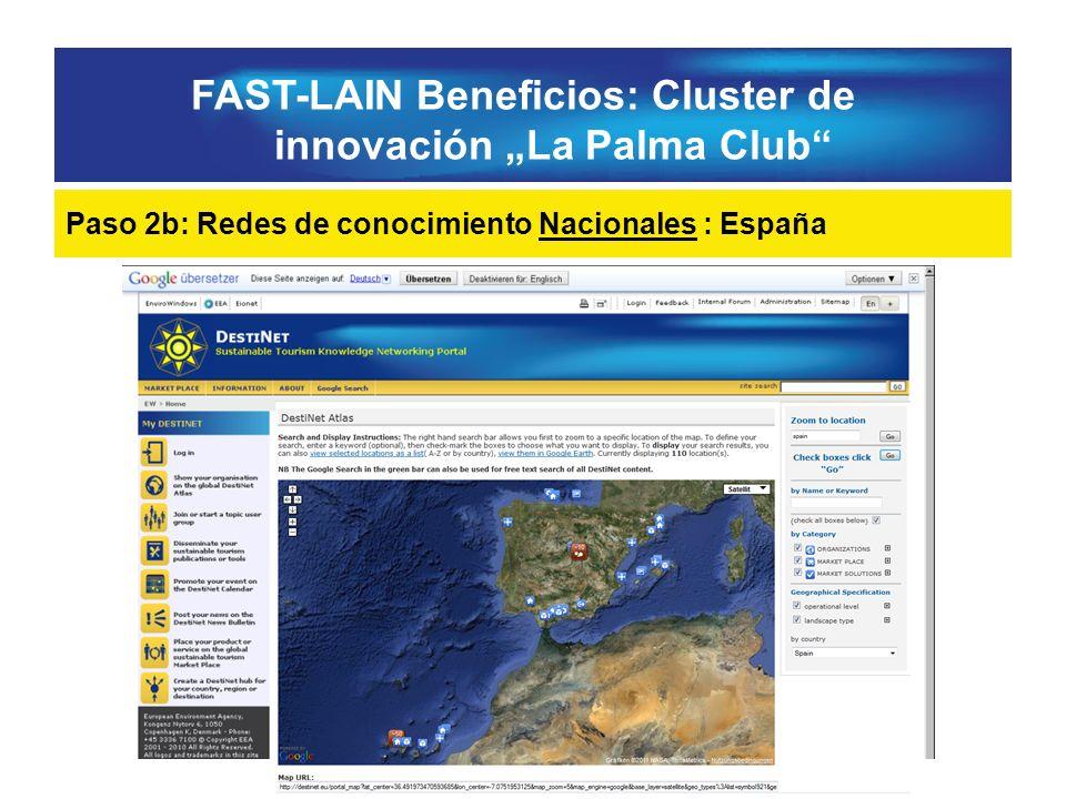 FAST-LAIN Beneficios: Cluster de innovación La Palma Club Paso 2b: Redes de conocimiento Nacionales : España
