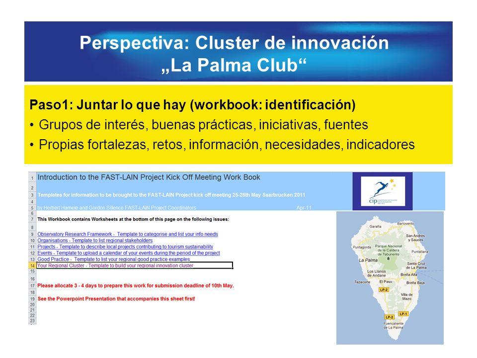 Perspectiva: Cluster de innovación La Palma Club Paso1: Juntar lo que hay (workbook: identificación) Grupos de interés, buenas prácticas, iniciativas, fuentes Propias fortalezas, retos, información, necesidades, indicadores