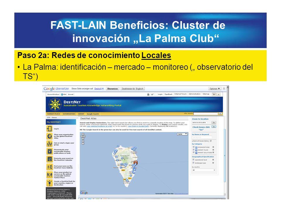 FAST-LAIN Beneficios: Cluster de innovación La Palma Club Paso 2a: Redes de conocimiento Locales La Palma: identificación – mercado – monitoreo ( observatorio del TS)