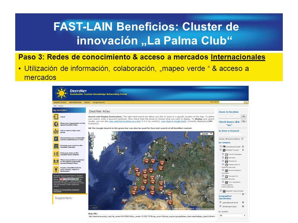 FAST-LAIN Beneficios: Cluster de innovación La Palma Club Paso 3: Redes de conocimiento & acceso a mercados Internacionales Utilización de información, colaboración, mapeo verde & acceso a mercados