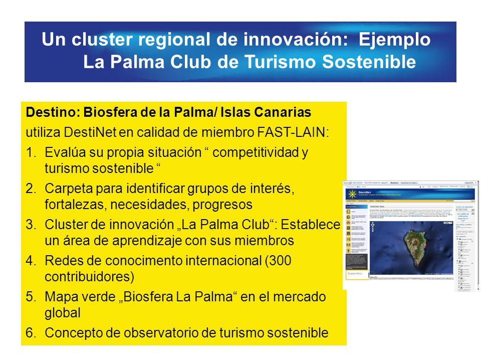 Un cluster regional de innovación: Ejemplo La Palma Club de Turismo Sostenible Destino: Biosfera de la Palma/ Islas Canarias utiliza DestiNet en calidad de miembro FAST-LAIN: 1.Evalúa su propia situación competitividad y turismo sostenible 2.Carpeta para identificar grupos de interés, fortalezas, necesidades, progresos 3.Cluster de innovación La Palma Club: Establece un área de aprendizaje con sus miembros 4.Redes de conocimento internacional (300 contribuidores) 5.Mapa verde Biosfera La Palma en el mercado global 6.Concepto de observatorio de turismo sostenible