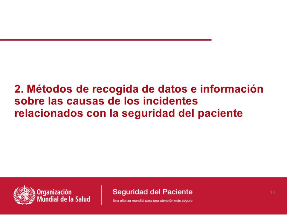 2. Métodos de recogida de datos e información sobre las causas de los incidentes relacionados con la seguridad del paciente 14