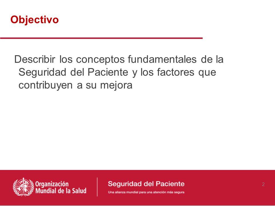 2 Describir los conceptos fundamentales de la Seguridad del Paciente y los factores que contribuyen a su mejora Objectivo