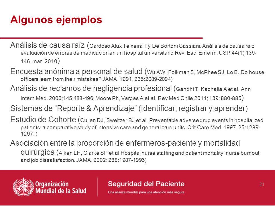 Análisis de causa raíz ( Cardoso Alux Teixeira T y De Bortoni Cassiani. Análisis de causa raíz: evaluación de errores de medicación en un hospital uni