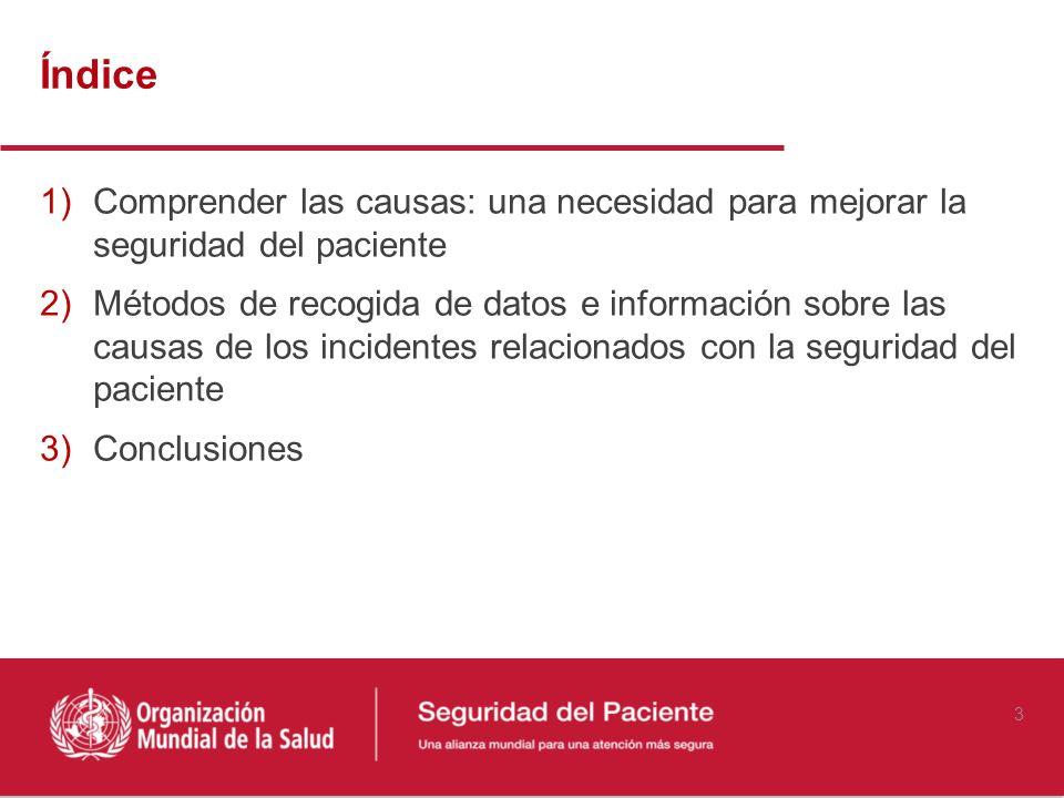Índice 1)Comprender las causas: una necesidad para mejorar la seguridad del paciente 2)Métodos de recogida de datos e información sobre las causas de