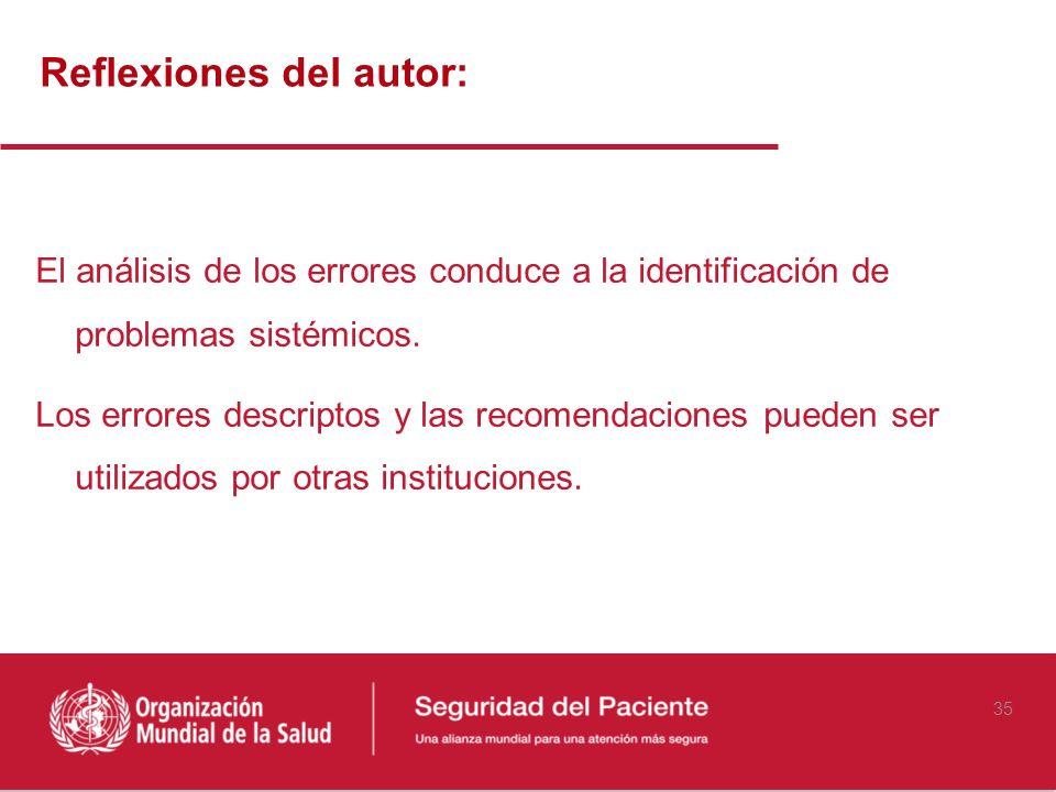 Reflexiones del autor: El análisis de los errores conduce a la identificación de problemas sistémicos. Los errores descriptos y las recomendaciones pu