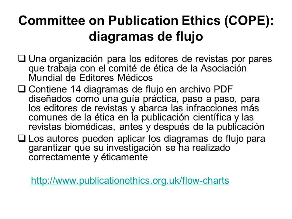 Committee on Publication Ethics (COPE): diagramas de flujo Una organización para los editores de revistas por pares que trabaja con el comité de ética