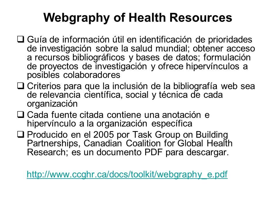 Webgraphy of Health Resources Guía de información útil en identificación de prioridades de investigación sobre la salud mundial; obtener acceso a recu