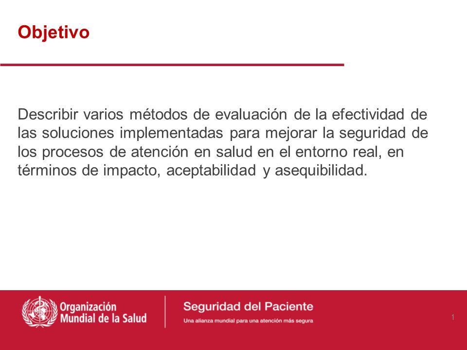Objetivo Describir varios métodos de evaluación de la efectividad de las soluciones implementadas para mejorar la seguridad de los procesos de atención en salud en el entorno real, en términos de impacto, aceptabilidad y asequibilidad.