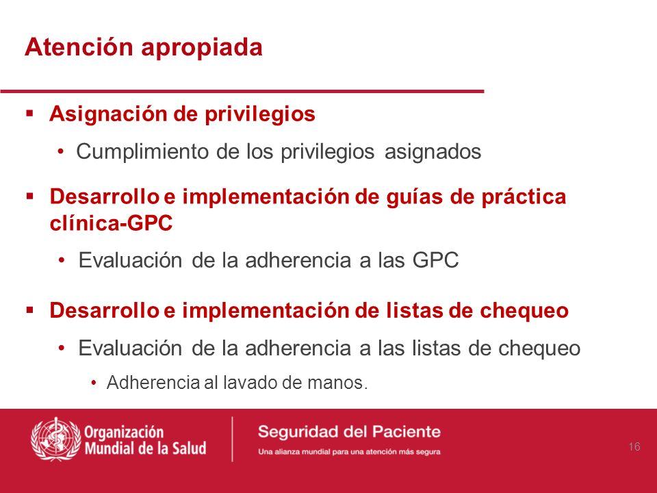 Daño Cumplimiento de las metas internacionales en SP: Identificación de los pacientes Infecciones asociadas al cuidado de la salud Caídas Cirugía en p