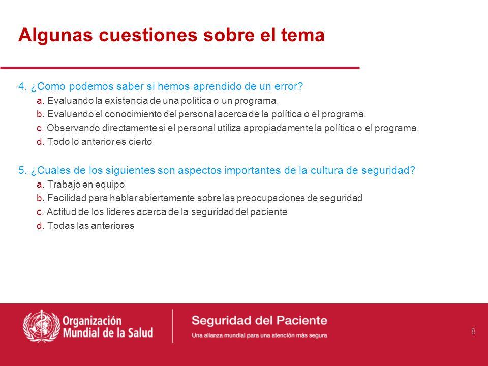 Algunas cuestiones sobre el tema 1. ¿Cuáles son los tres elementos que señala Donabedian para evaluar la calidad de la atención sanitaria? a. Costo, C