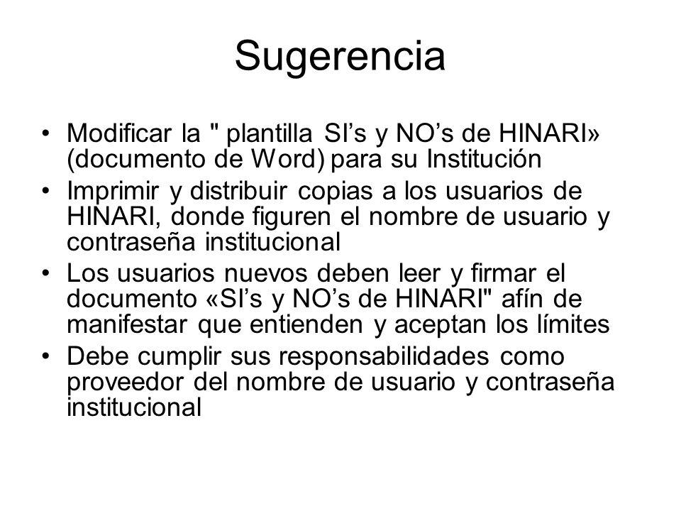 Escriba el nombre de la institución/ POLÍTICA DE USO DE HINARI Nombre de usuario: Contraseña: SIs en HINARI El material de propiedad de las editoriales disponibles a través de HINARI, pueden ser utilizados por Usuarios Autorizados o Usuarios Visitantes.