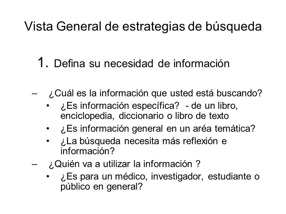 Vista General de estrategias de búsqueda 1. Defina su necesidad de información –¿Cuál es la información que usted está buscando? ¿Es información espec