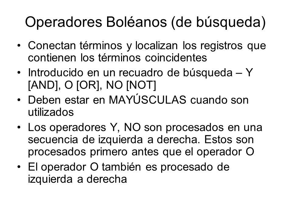 Operadores Boléanos (de búsqueda) Conectan términos y localizan los registros que contienen los términos coincidentes Introducido en un recuadro de bú