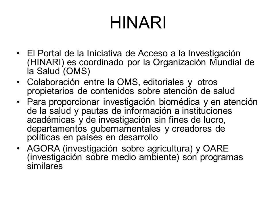HOA URLs HINARI: health (<5,000 revistas) http://www.who.int/hinari/es/ http://www.who.int/hinari/es/ AGORA: agriculture (<900 revistas) http://www.aginternetwork.org/es/ OARE: environment (<1300 revistas) http://www.oaresciences.org/es/ http://www.aginternetwork.org/es/http://www.oaresciences.org/es/ updated: 039 2009