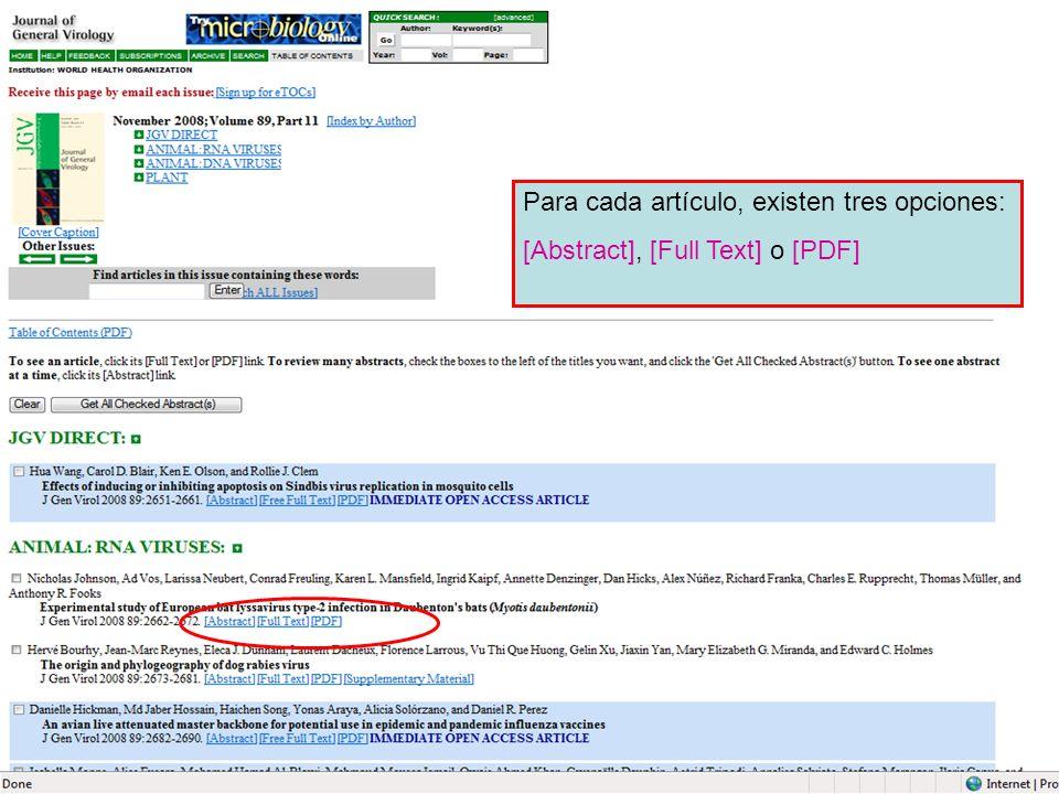 Para cada artículo, existen tres opciones: [Abstract], [Full Text] o [PDF]