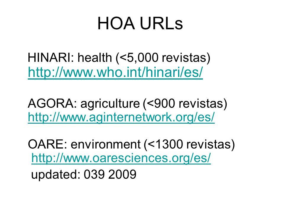 HOA URLs HINARI: health (<5,000 revistas) http://www.who.int/hinari/es/ http://www.who.int/hinari/es/ AGORA: agriculture (<900 revistas) http://www.ag