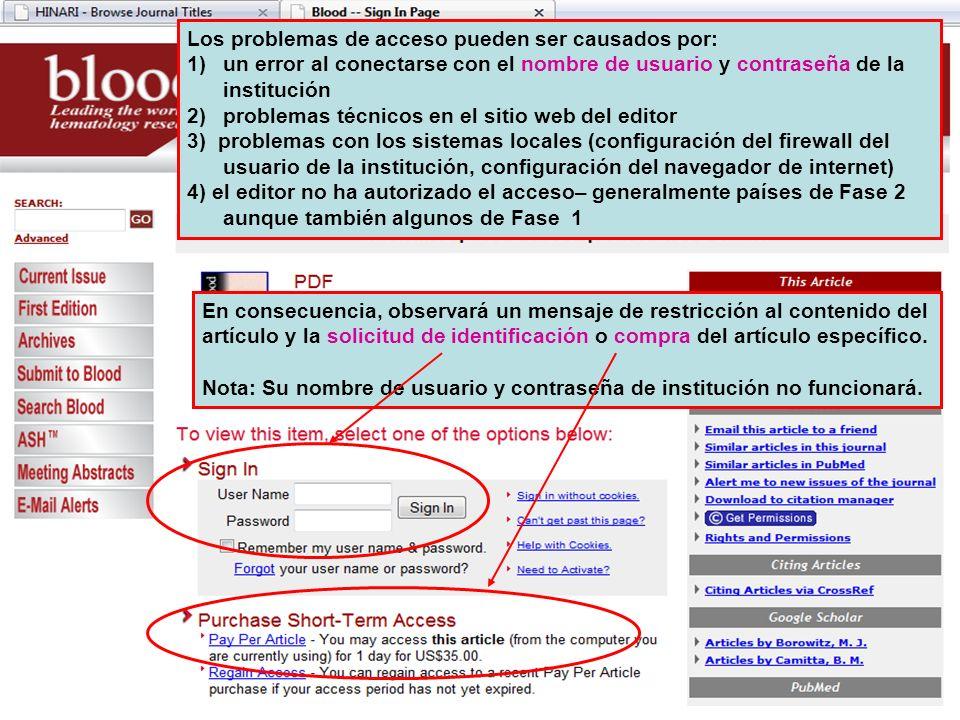 Los problemas de acceso pueden ser causados por: 1)un error al conectarse con el nombre de usuario y contraseña de la institución 2)problemas técnicos