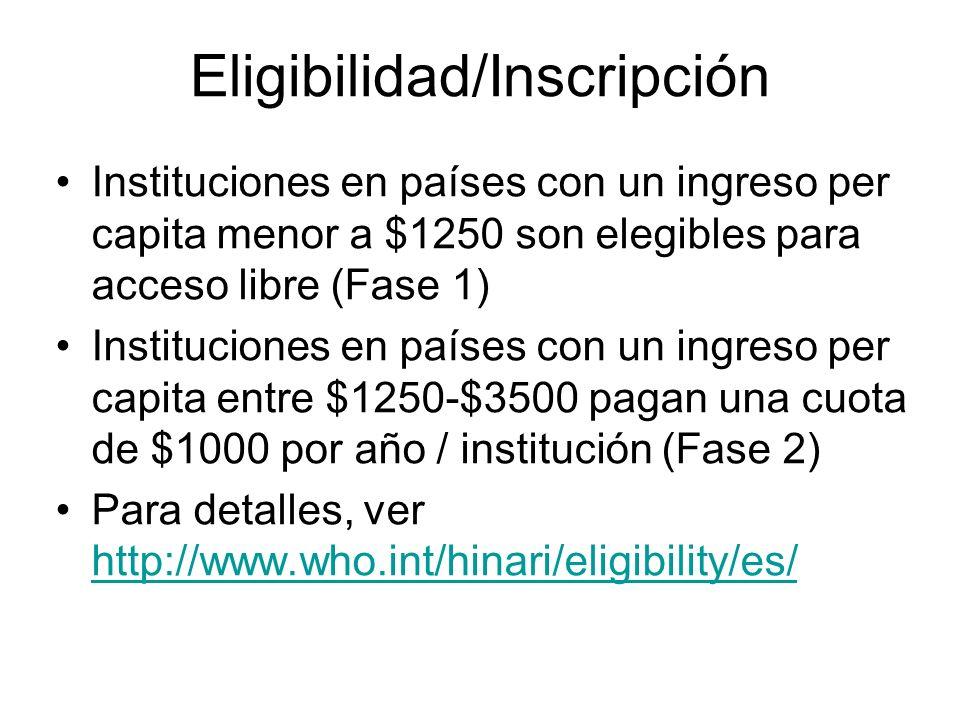Eligibilidad/Inscripción Instituciones en países con un ingreso per capita menor a $1250 son elegibles para acceso libre (Fase 1) Instituciones en paí