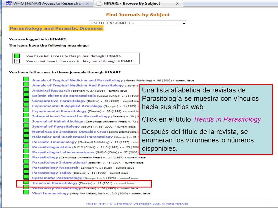 Accessing journals by subject 4 Una lista alfabética de revistas de Parasitología se muestra con vínculos hacia sus sitios web. Click en el título Tre